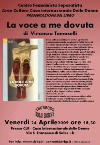 La voce a me dovuta di Vincenza Tomaselli