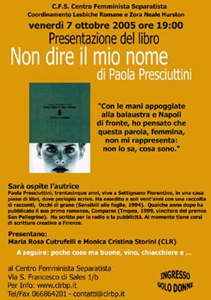 Non dire il mio nome di Paola Presciuttini